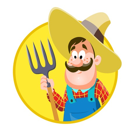 Cartoon farmer. vector illustration on white background
