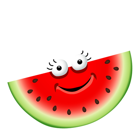 Fun cute cartoon watermelon character.Vector illustration, isolated on a white background Ilustração