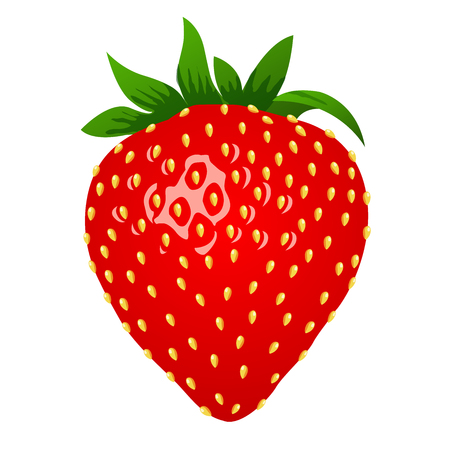 Strawberry, 3d stile. Vector illustration, isolated on white background Ilustração