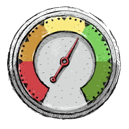 Speedometer. Poor, fair, good, excellent - rating meter. Vector illustration, isolated
