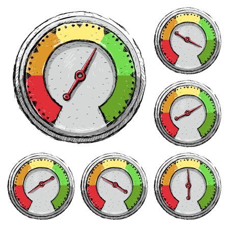 Speedometer. Poor, fair, good excellent - rating meter Vector illustration isolated
