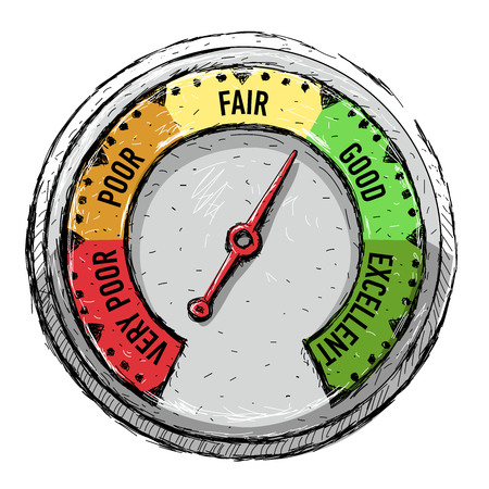 Speedometer. Poor, fair, good excellent - rating meter Vector illustration Ilustração