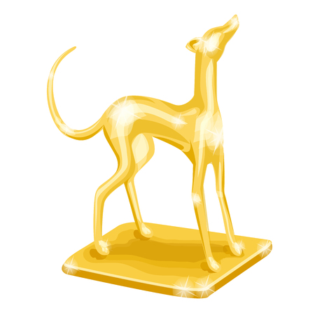 Golden trophy. Dog racing Vector illustration, isolated