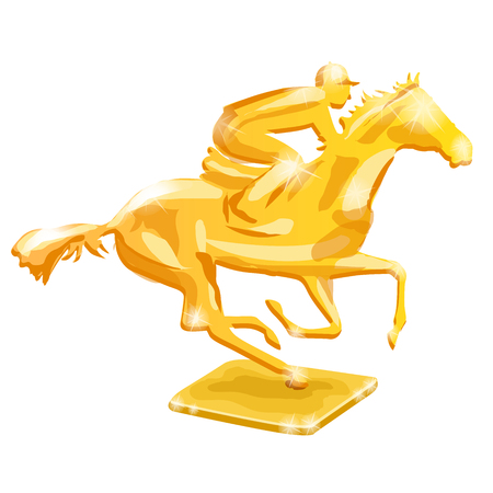 Golden trophy. Horse racing. Vector illustration, on white background