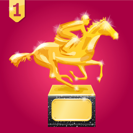 Golden award. Wiiner. Horse racing. Vector illustration on red background Ilustração