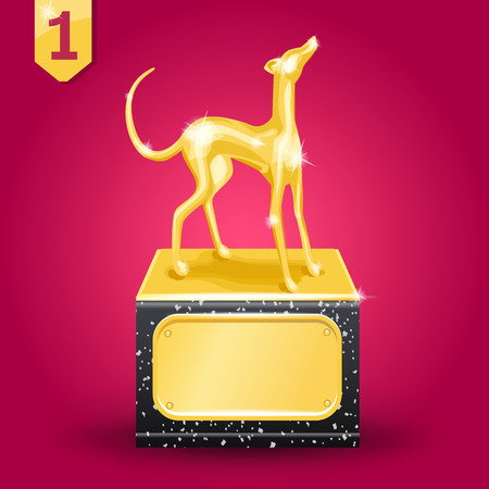 Golden award. Wiiner. Dog racing. Vector illustration on red background