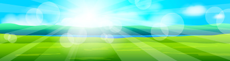 Beauty natural background with grass and sky. Vector illustration