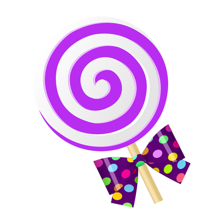 Fun cute cartoon purple lollipop with bow. Vector illustration