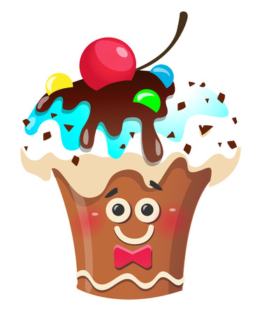 Handmade cute cartoon cup cake character with cherry. Vector illustration, clip-art on white background