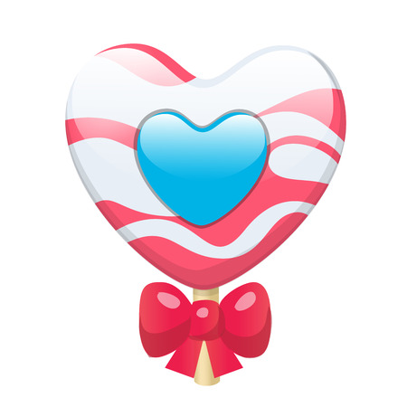 Lovely cute cartoon candy lollipop heart with red bow. Vector illustration, clip-art, isolated on white background