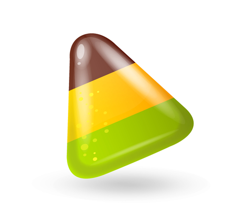 Fun cute cartoon triangular color candy. Vector illustration, clip-art, isolated on white background Ilustração