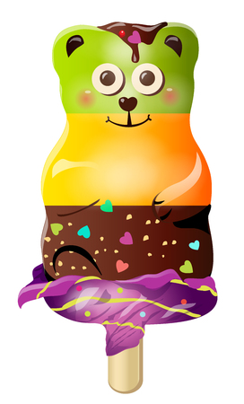 Sweet cute fun cartoon candy ice cream bear character. Vector illustration, clip-art, isolated on white background