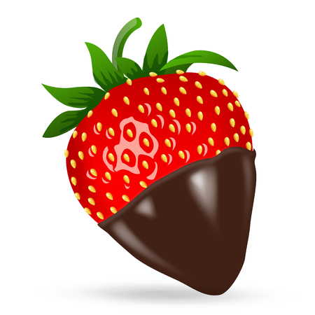 Chocolate dipped strawberry. 3d stile. Vector illustration, clip-art, isolated on white background
