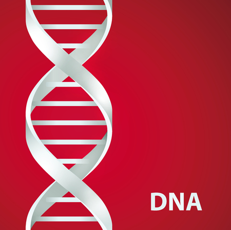 Silver Dna Dna. 3d stile, vector illustration, isolated on red background Illustration