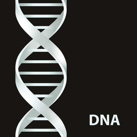Silver Dna Dna. Vector illustration, isolated on black background Ilustração