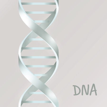 Silver Dna Dna. Vector illustration, isolated on gray background