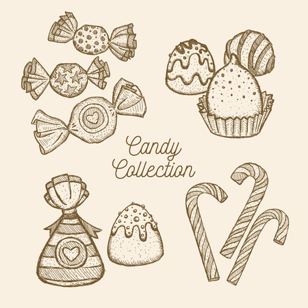 Candy set. Hand drawn in a graphic style. Vector illustration Ilustração