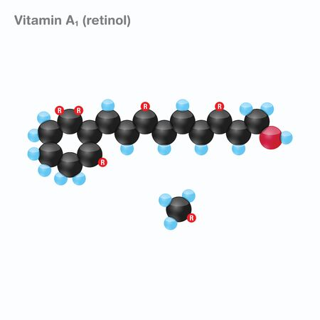 The molecule of vitamin A1 (retinol). Vector illustration in 3d style, isolated on white background.