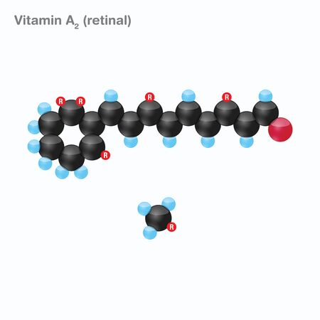 The molecule of vitamin A2 (retinal). Vector illustration in 3d style, isolated on white background.