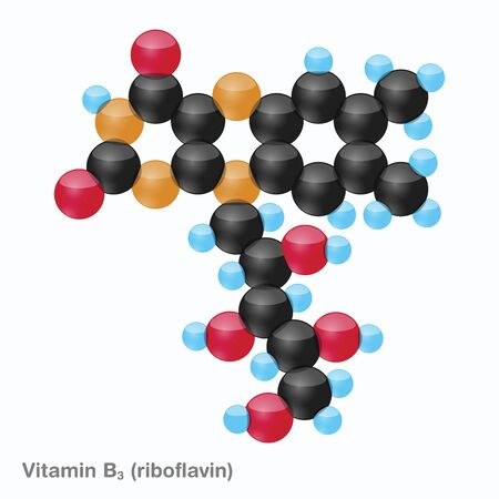 The molecule of vitamin B2 (riboflavin). Vector illustration in 3d style, isolated on white background.