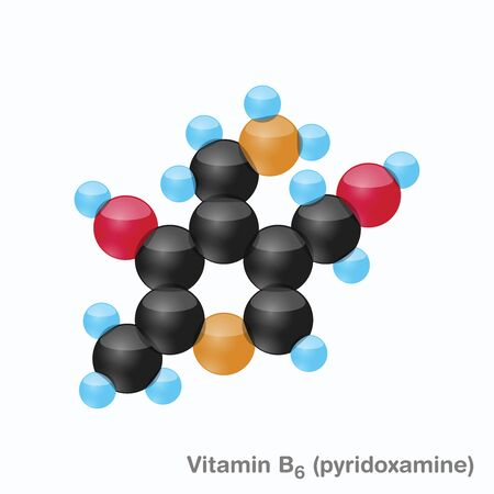 The molecule of vitamin B6 (pyridoxamine). Vector illustration in 3d style, isolated on white background. Иллюстрация