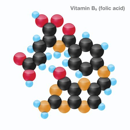 The molecule of vitamin B9 (folic acid). Vector illustration in 3d style, isolated on white background.