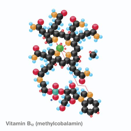 The molecule of vitamin B12 (methylcobalamin). Vector illustration in 3d style, isolated on white background.