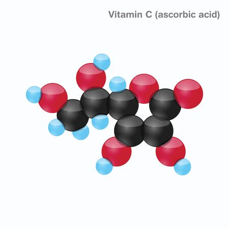 The molecule of vitamin C (ascorbic acid). Vector illustration in 3d style, isolated on white background. Иллюстрация