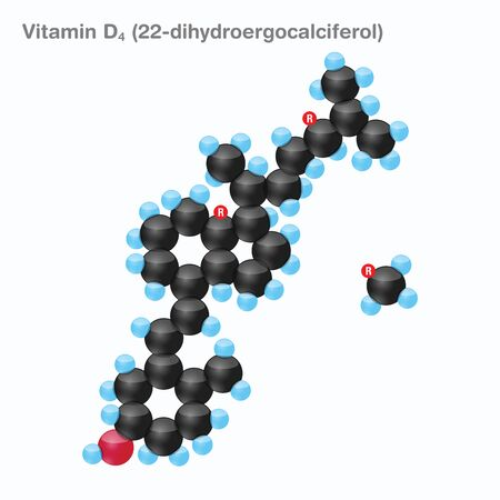 The molecule of vitamin D4 (22-dihydroergocalciferol). Vector illustration in 3d style, isolated on white background.