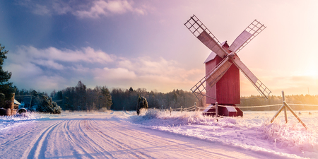 overflakkee: Winter road to the mill in Finland