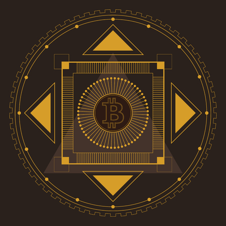 Symmetrical pattern in line-art style with a bitcoin symbol in the center, gold and dark-brown palette Иллюстрация