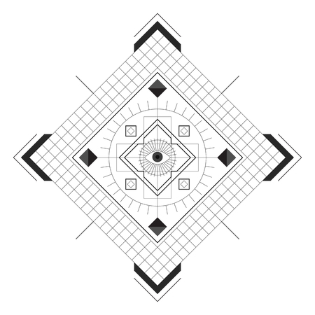 Symmetrical pattern in line-art style with the eye in the center, black and white palette Иллюстрация