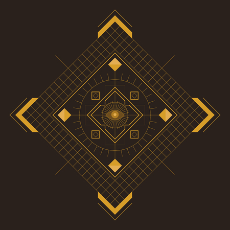 Symmetrical pattern in line-art style with the eye in the center, gold and dark-brown palette Vettoriali