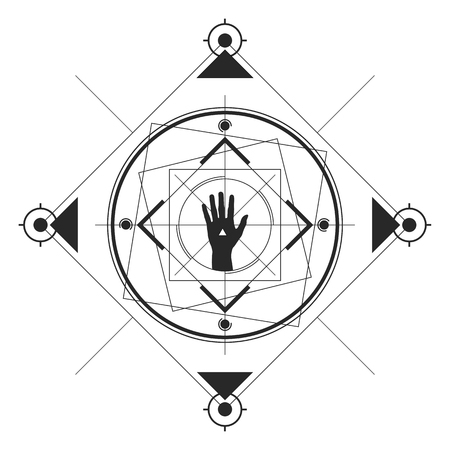 Symmetrical pattern in line art style with a hand in the center, black and white palette.