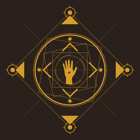 Symmetrical pattern in line art style with a hand in the center, gold and dark brown palette. Иллюстрация