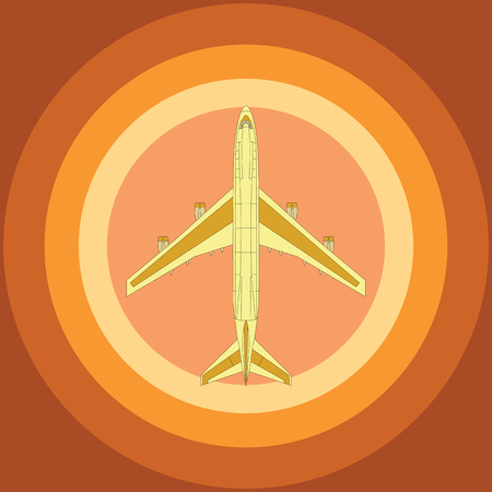 Yellow airplane top view on radial orange background
