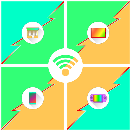 Poster shows mobile devices (laptop, tablet, phone, console) supporting WiFi connection