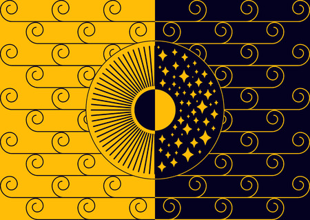 Day and night concept line-art vector image, black and yellow palette. Sun and moon, stars and clouds.
