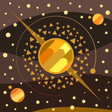 Abstract planets, asteroids, stars and space vector art illustration, brown-gold palette