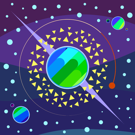 Abstract planets, asteroids, stars and space vector art illustration, multicolored version