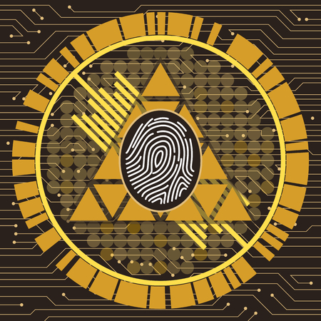 Fingerprint symmetrical vector art illustration modern technology stylized brown-yellow-gold gamma