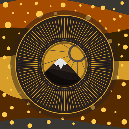 Mountain and sun nature vector illustration in stylized frame with abstract hilly background, grey-brown-gold gamma Imagens - 114934936