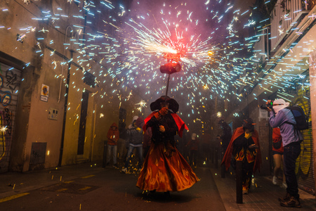 Barcelona,Spain Aug21: Fireworks in Gracia, Barcelonas district, during the traditional fire run.