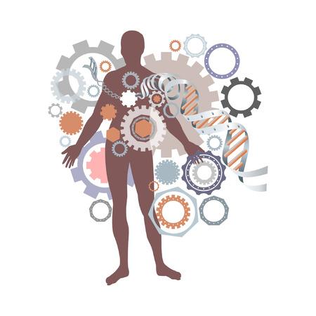 viability: health, man, DNA helix, figure, infographics