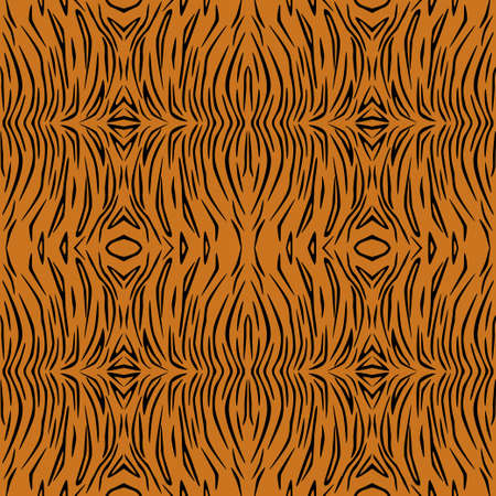 Vector seamless pattern of tiger skin. Background design, textile decoration, animalistic print.