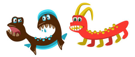 cute monsters, set of original funny cartoon monsters, toothy, emotional, color, vector illustration