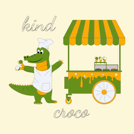 Vector illustration of cheerful crocodile stands in a chefs cap and apron near an ice cream cart, inscription kind croco, alligator holds waffle cups eith ice cream in his hands