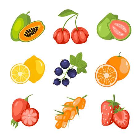 Fruits and berries cartoon icon set. Papaya, acerola cherry, guava, lemon, blackcurrant, orange, rosehip, sea buckthorn, strawberry. Vitamin healthy food. Education card for kids vector illustration Vektorgrafik