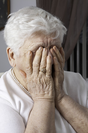 congenial: portrait of an elderly woman with problem