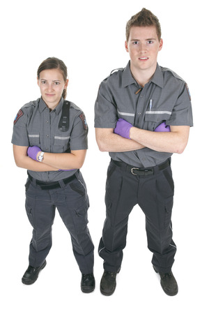 Paramedic employee in the front of a white background photo